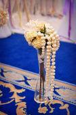 Beautiful wedding vase with flowers — Stock Photo