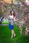 Beautiful brunette girl in the flowered garden — Stock Photo