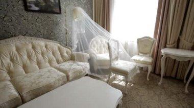 Beautiful sofa near window in a modern apartment — Stok video