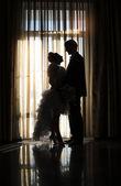 Silhouette of bride and groom in wedding day — Foto de Stock