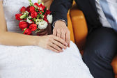 Hands with rings bride and groom — Stock Photo