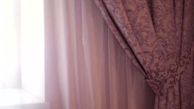 Beautiful curtains in a hotel room close up — Stock Video
