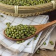 Mung bean in a wooden spoon — Stock Photo