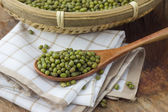 Mung bean in a wooden spoon — Foto de Stock