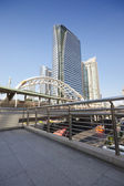 BRT, Pubic skywalk with modern buildings of Bangkok — Stock Photo