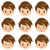 Facial expression of the boy — Stock Vector