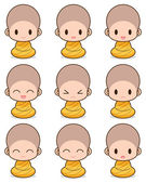 Facial expression of the buddhist Monk — Stock Vector