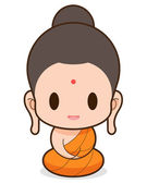Buddhist Monk cartoon, illustration — Stock Vector