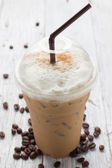 Iced blended frappucino, coffee beans — Stock Photo