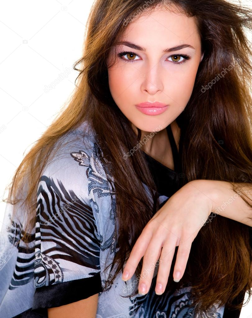 Beautiful young woman portrait, studio shot  Stock Photo #12021227