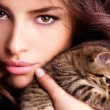 Stock Photo: Young beauty with kitten