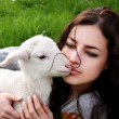 Girl and lamb — Stock Photo