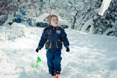 Winter portrait of a little boy — Foto Stock
