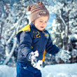 Royalty-Free Stock Photo: A liitle boy playing in a snowdrift