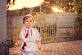 A girl dressed in Ukrainian at sunset — Stock Photo