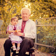 Grandfather with granddaughter in Ukrainicostume at sunset — Stock Photo #23284684