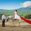 Bride on a horse looks at the groom — Stock Photo #23360754