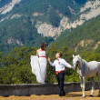Royalty-Free Stock Photo: The bride and groom with a horse near the high mountains
