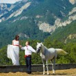 The bride and groom with a horse near the high mountains - Stock Photo
