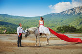 Bride on a horse looks at the groom — Stock Photo
