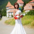 Bride on the background of mountains — Stock Photo