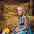 A cute girl in the hayloft — Stock Photo