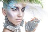 Beautiful Girl's. Creative Winter Makeup — Stock Photo