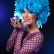 Glamour Portrait Of A Girl In A Blue Wig — Stock Photo