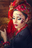 Portrait of a Russian beauty Solokha — Stock Photo
