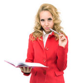 Attractive manager in a red jacket with a book — Stock Photo