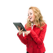 Atractiva mujer de negocios con un equipo tablet pc — Foto de Stock