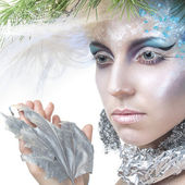 Beautiful Girl's. Creative Winter Makeup — Stock Photo