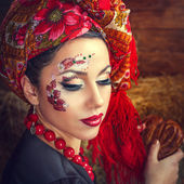 Portrait of a Russian beauty Solokha — Stock Photo
