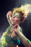 A fairy forest girl on a black background — Stock Photo