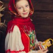 Girl in traditional Russian dress — Stock Photo