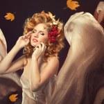 Autumn Woman Fashion Portrait. Fall. Beautiful Girl. — Stock Photo