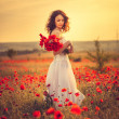 Bride in poppy field — Stock Photo #26400447