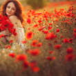 Bride in poppy field — Stock Photo #26400753