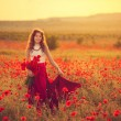 Girl in poppy field — Stock Photo #26401013