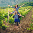Family in the striped shirt in the vineyard — Lizenzfreies Foto