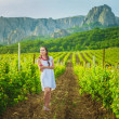 Stock Photo: Beautiful girl in summer vineyard