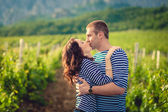 Couple kissing in striped shirts in the vineyard — Stock Photo
