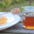 Delicious honey in jar and honeycomb — Stock Photo