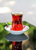 Turkish tea with traditional teaglass — Stock Photo