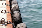 Dock tire bumpers — Stock Photo