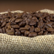 Coffee beans in a flax sack — Stock Photo