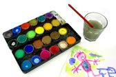 Watercolor and children painting — Stock Photo