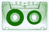 Audio cassette -green- — Stock Photo