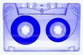 Audio cassette - blue - isolated on white background — Stock Photo