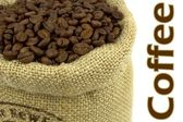 Roasted coffee beans in a flax bag and sample text — Stock Photo